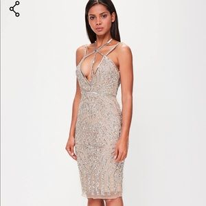 e636be4877 Missguided Dresses - MISSGUIDED PEACE +LOVE NUDE EMBELLISHED MIDI DRESS